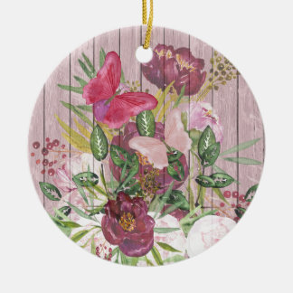 ピンクの木製の効果の紫色のシャクヤクの花花束 セラミックオーナメント