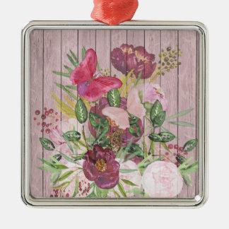ピンクの木製の効果の紫色のシャクヤクの花花束 メタルオーナメント