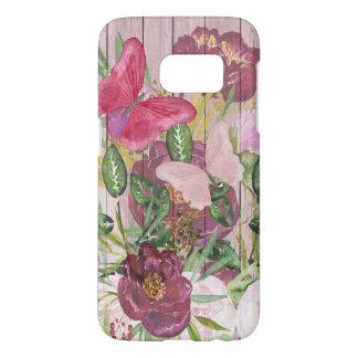 ピンクの木製の効果の紫色のシャクヤクの花花束 SAMSUNG GALAXY S7 ケース