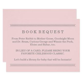 ピンクの本の要求|ベビーシャワーのエンクロージャカード 8.9 X 12.7 インビテーションカード