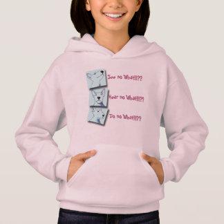 ピンクの柔らかいフリースのブルテリアのポップアートのフード付きスウェットシャツ