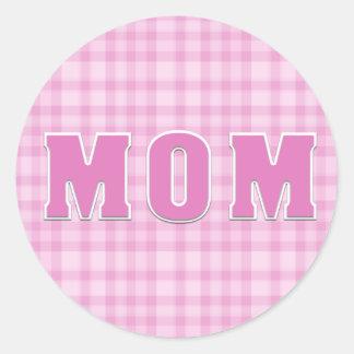 ピンクの格子縞のお母さんのステッカー ラウンドシール
