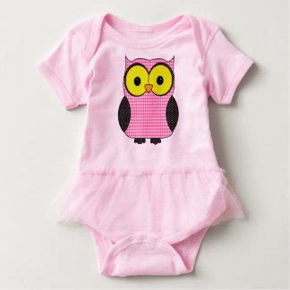 ピンクの格子縞のフクロウ ベビーボディスーツ