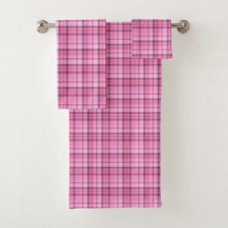 ピンクの格子縞タオルセット バスタオルセット