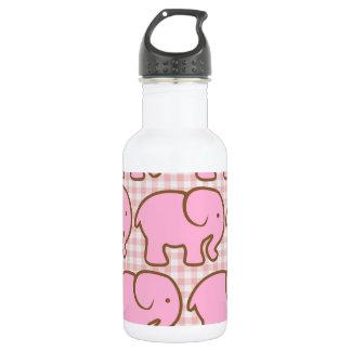 ピンクの格子縞パターンのかわいらしいピンク象 ウォーターボトル