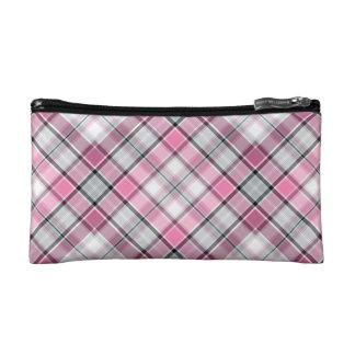 ピンクの格子縞パターン上品 コスメティックバッグ