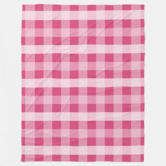 ピンクの格子縞 フリースブランケット