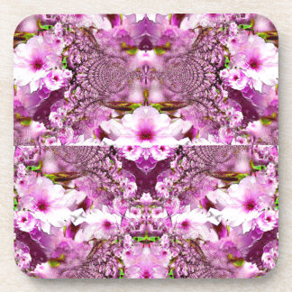ピンクの桜およびレースの抽象デザイン コースター