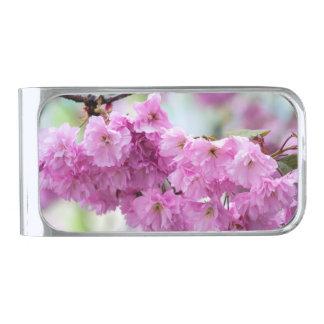 ピンクの桜のさくらんぼ シルバー マネークリップ