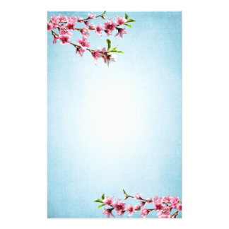 ピンクの桜のヴィンテージの青 便箋