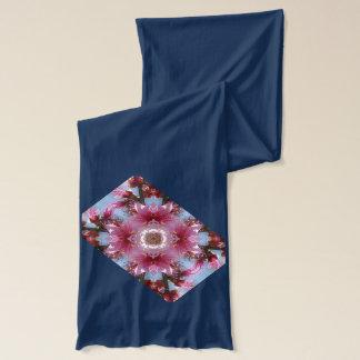 ピンクの桜の万華鏡のように千変万化するパターン スカーフ