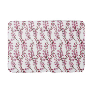 ピンクの桜の水彩画パターン バスマット