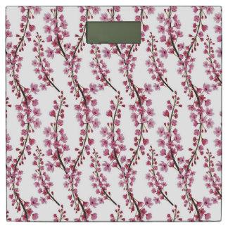 ピンクの桜の水彩画パターン 体重計