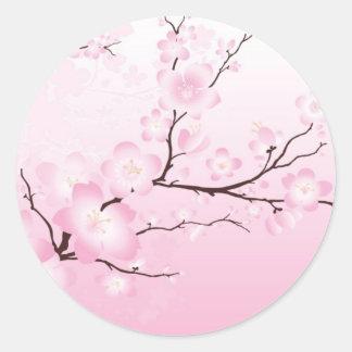 ピンクの桜の結婚式用シール ラウンドシール