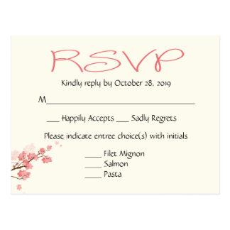 ピンクの桜の結婚披露宴RSVPの郵便はがき ポストカード