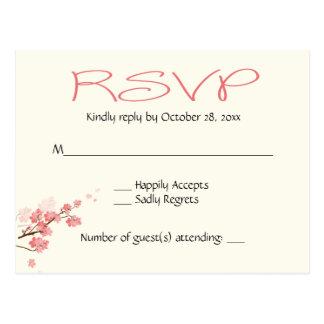 ピンクの桜の結婚披露宴RSVP -メニュー無し ポストカード
