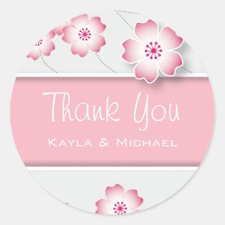 ピンクの桜はシール感謝していしています ラウンドシール