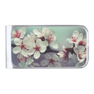 ピンクの桜、Cherryblossomの桜 シルバー マネークリップ