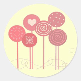 ピンクの棒つきキャンデー ラウンドシール