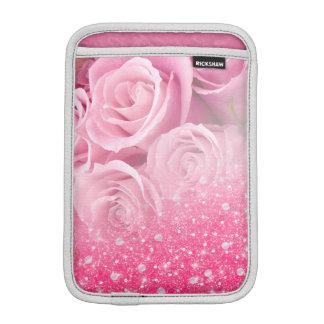 ピンクの模造のなきらめくグリッターは女性および女の子のために上がりました iPad MINIスリーブ