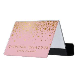 ピンクの模造のな金ゴールドホイルの紙吹雪の名刺入れ デスク名刺ホルダー