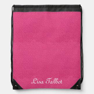 ピンクの模造のな革バックパック ナップサック