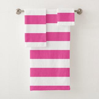 ピンクの横は縞で飾ります バスタオルセット