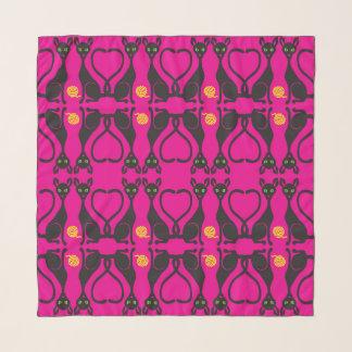 ピンクの正方形の軽くて柔らかいスカーフの猫ちゃん スカーフ