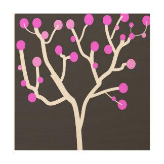 ピンクの正方形 ウッドウォールアート