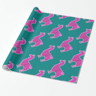 ピンクの毛皮で覆われたラマの包装紙 ラッピングペーパー