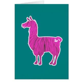 ピンクの毛皮で覆われたラマの挨拶状 カード