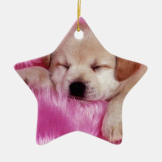 ピンクの毛皮のかわいい子犬 セラミックオーナメント