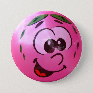 ピンクの気球の顔 7.6CM 丸型バッジ