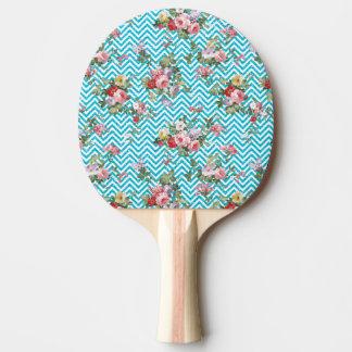 ピンクの水のヴィンテージの花のシェブロンのグリッターのプリント 卓球ラケット