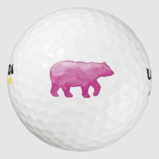 ピンクの水彩画くまのゴルフ・ボール ゴルフボール