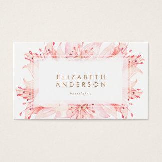 ピンクの水彩画によってはユリの名刺が開花します 名刺