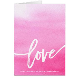ピンクの水彩画のしぶき|愛タイポグラフィ カード