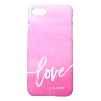 ピンクの水彩画のしぶき|愛 iPhone 8/7 ケース