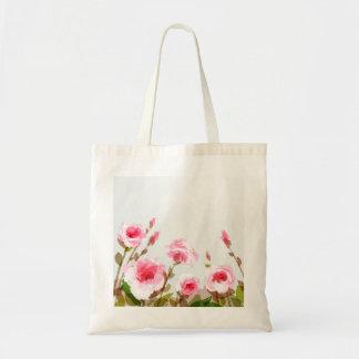 ピンクの水彩画のばら色の花のbohoの開花 トートバッグ