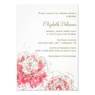 ピンクの水彩画のシャクヤクのブライダルシャワーの招待状 カード