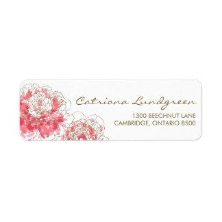 ピンクの水彩画のシャクヤクの上品の差出人住所ラベル 返信用宛名ラベル