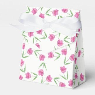 ピンクの水彩画のチューリップパターン フェイバーボックス