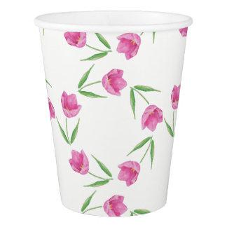 ピンクの水彩画のチューリップパターン 紙コップ