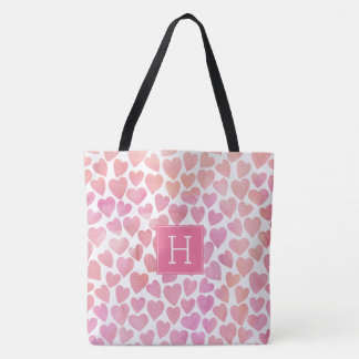 ピンクの水彩画のハートパターン トートバッグ
