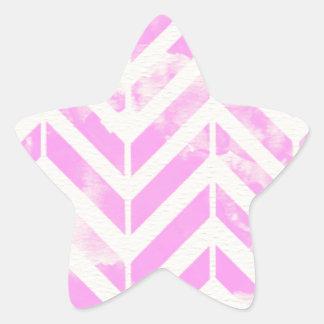 ピンクの水彩画のヘリンボンパターン 星シール
