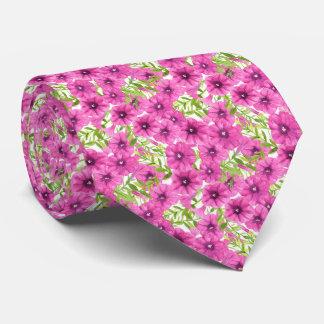 ピンクの水彩画のペチュニアの花模様 カスタムネクタイ