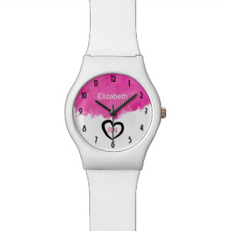 ピンクの水彩画のペンキの(ばちゃばちゃ)跳ねるRNのナース 腕時計