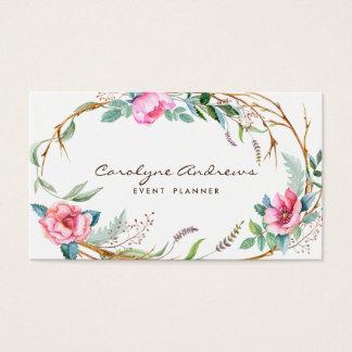 ピンクの水彩画のボヘミアの花のリース 名刺