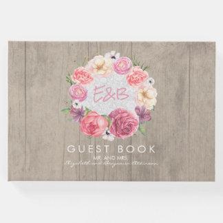 ピンクの水彩画の素朴な花のリースの木およびレース ゲストブック