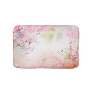 ピンクの水彩画の花のバス・マット バスマット